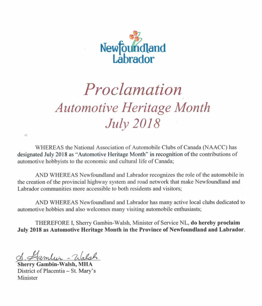 Newfoundland and Labrador Automotive Heritage Month - July 2018