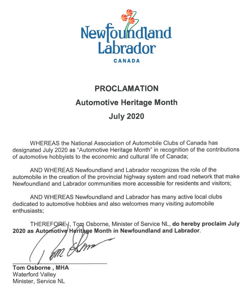 Newfoundland and Labrador Automotive Heritage Month - July 2020