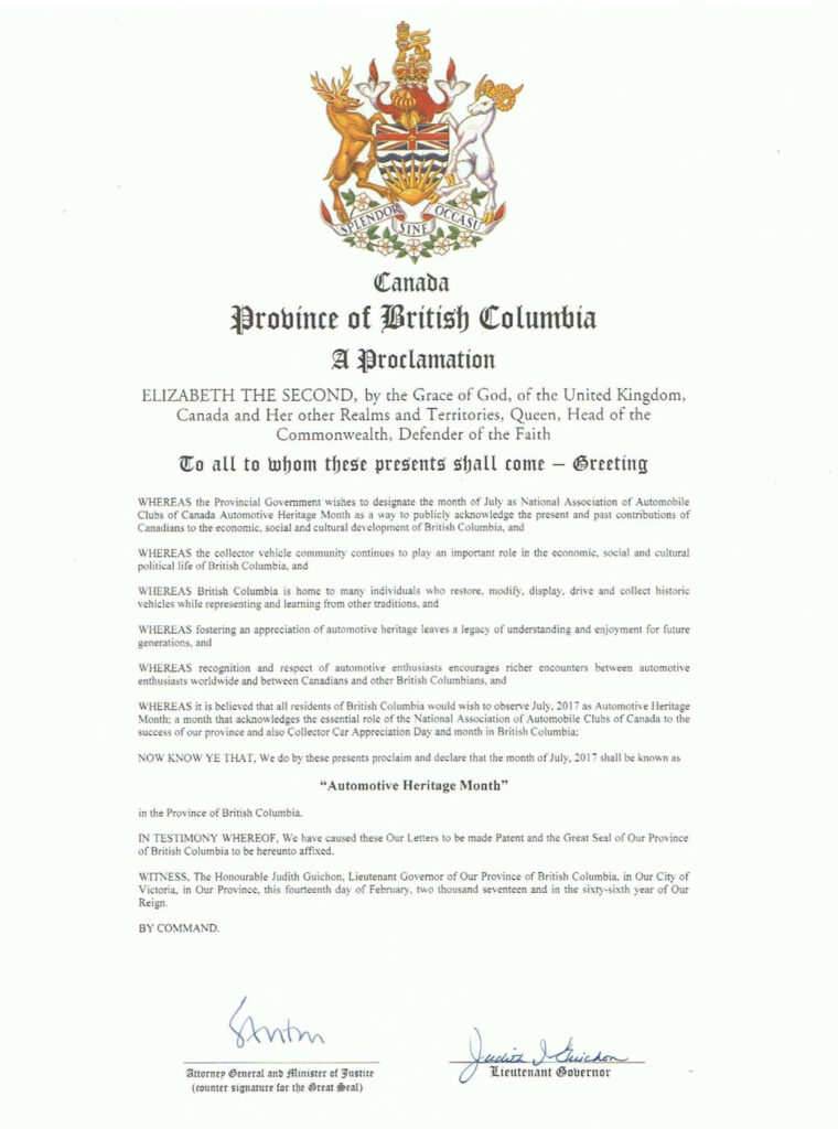 British Columbia Automotive Heritage Month - July 2017